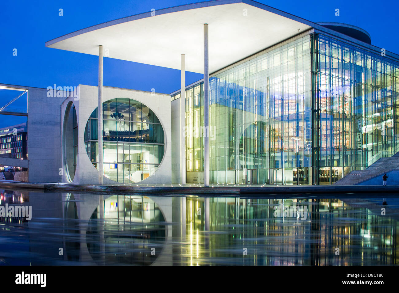 Marie Elisabeth Lüders Haus and Spree River at evening. - Stock Image