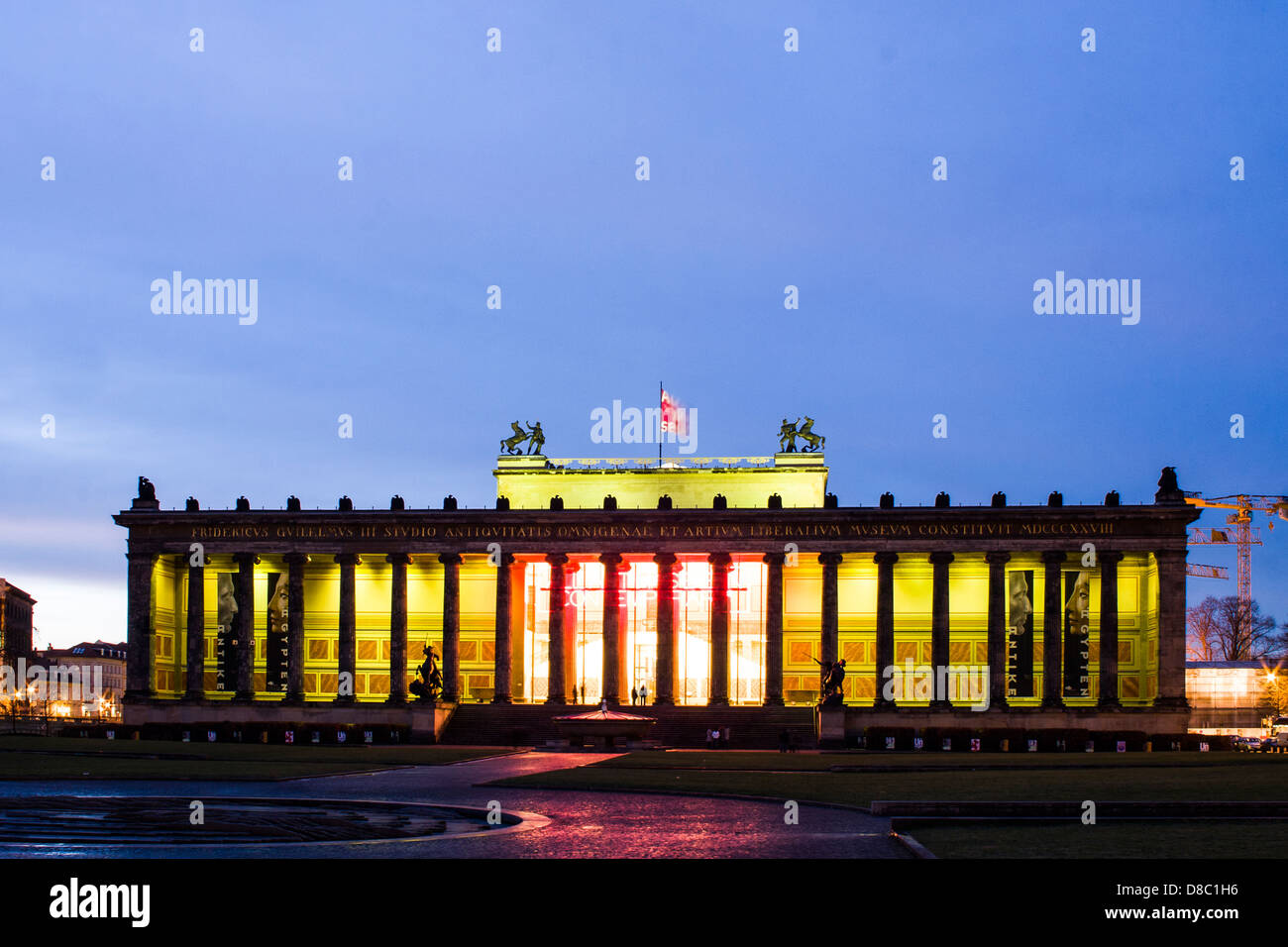 Altes Museum (Old Museum) at dusk. - Stock Image