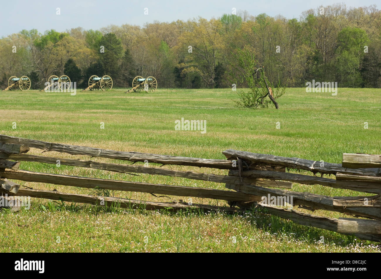 Artillery on the battlefield at Shiloh National Military Park, Tennessee. Digital photograph - Stock Image