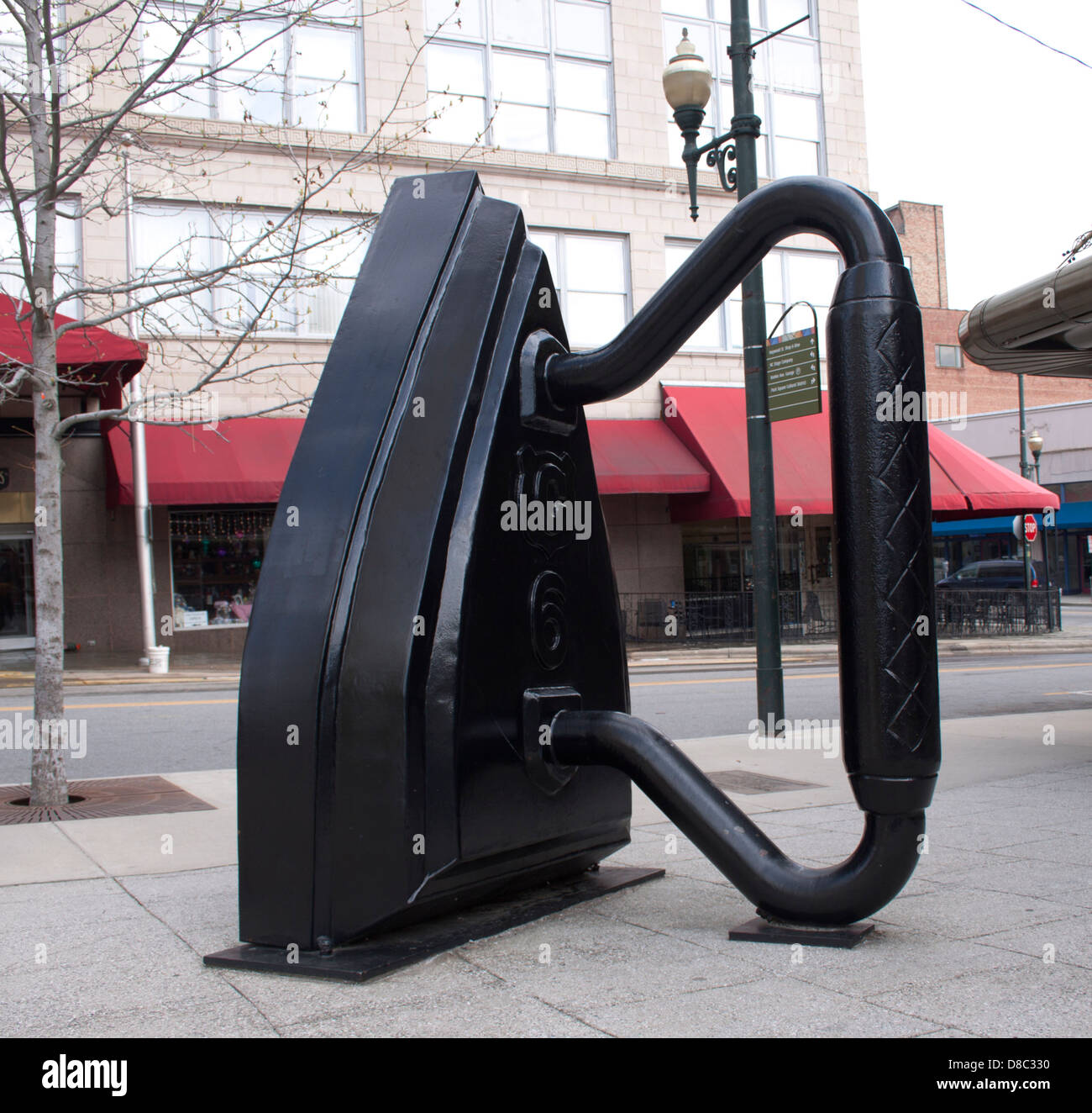 Giant Iron Sculpture in Asheville North Carolina Stock Photo