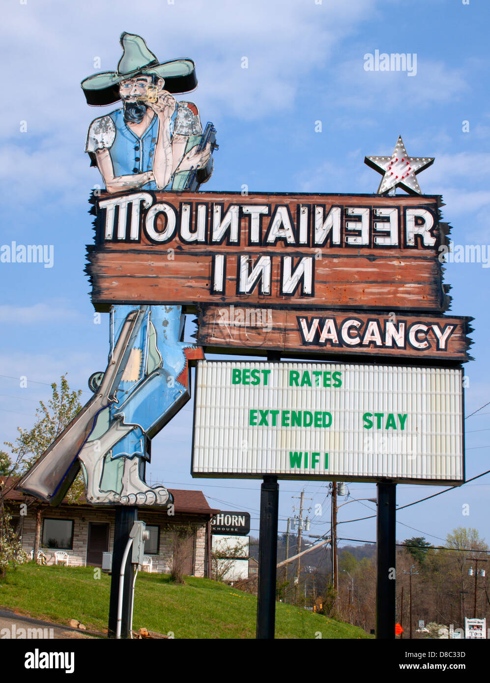 Mountaineer Motel Sign in Asheville North Carolina - Stock Image