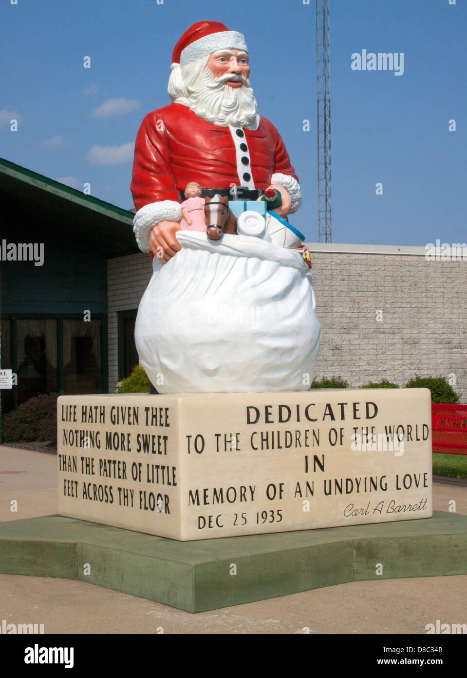Close Up Of Giant Santa Statue At The Town Hall In Santa Claus Indiana