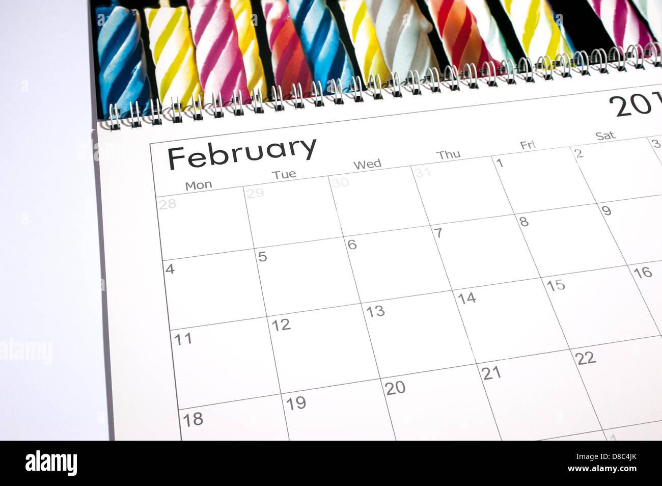 Blank calendar page - February 2013 - Stock Image