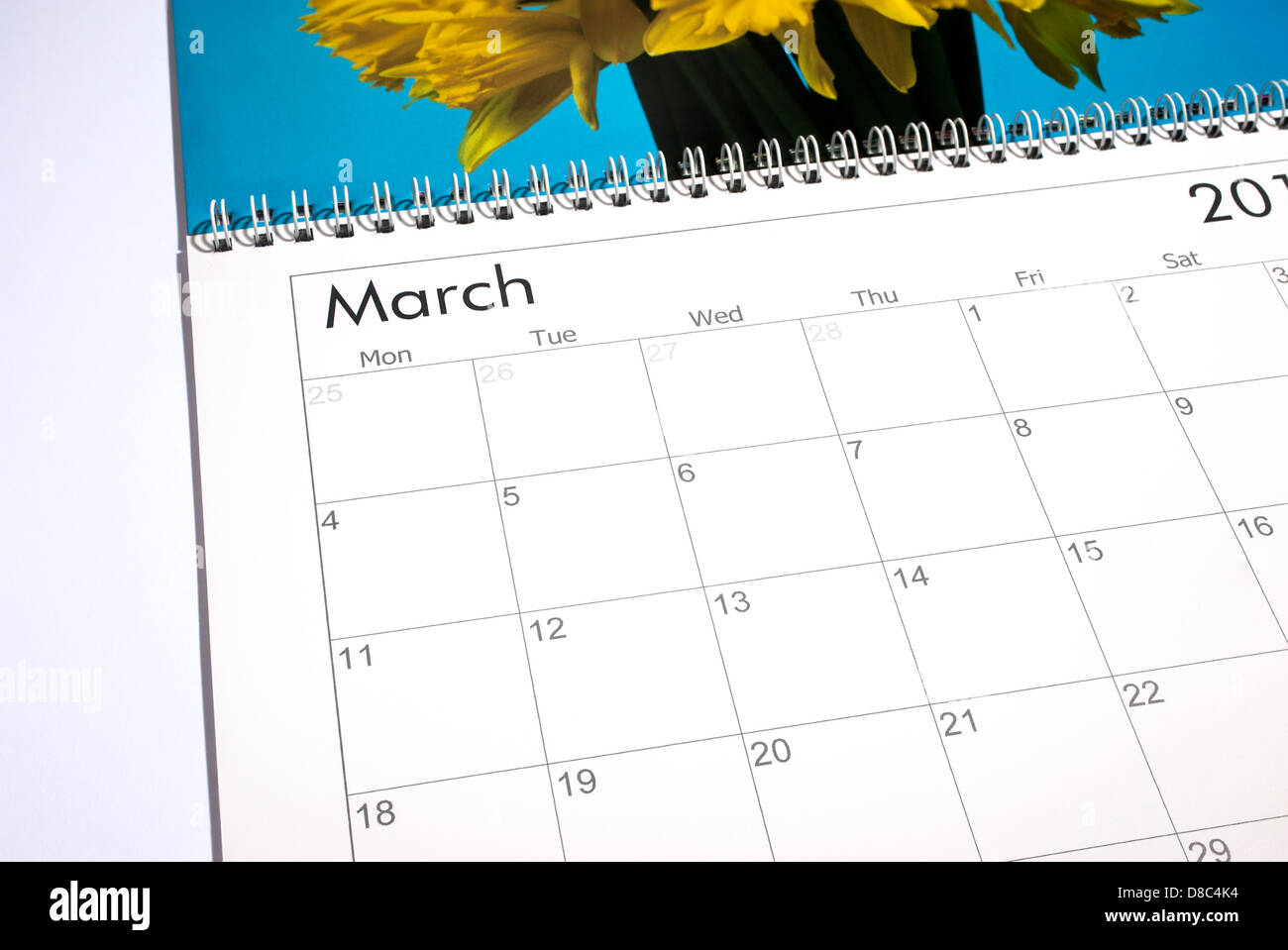 Blank calendar page March 2013 - Stock Image