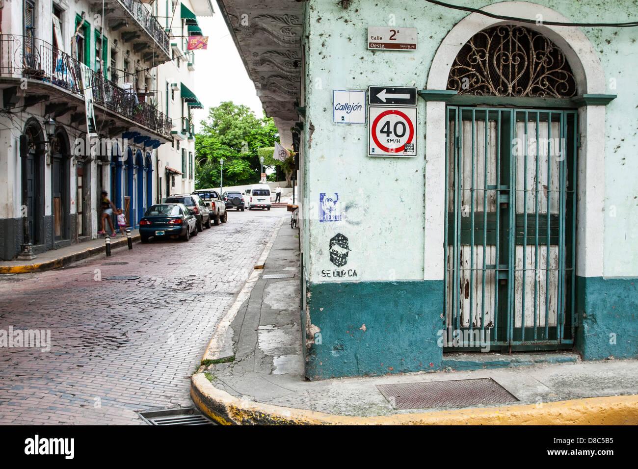 Street at Casco Antiguo. - Stock Image