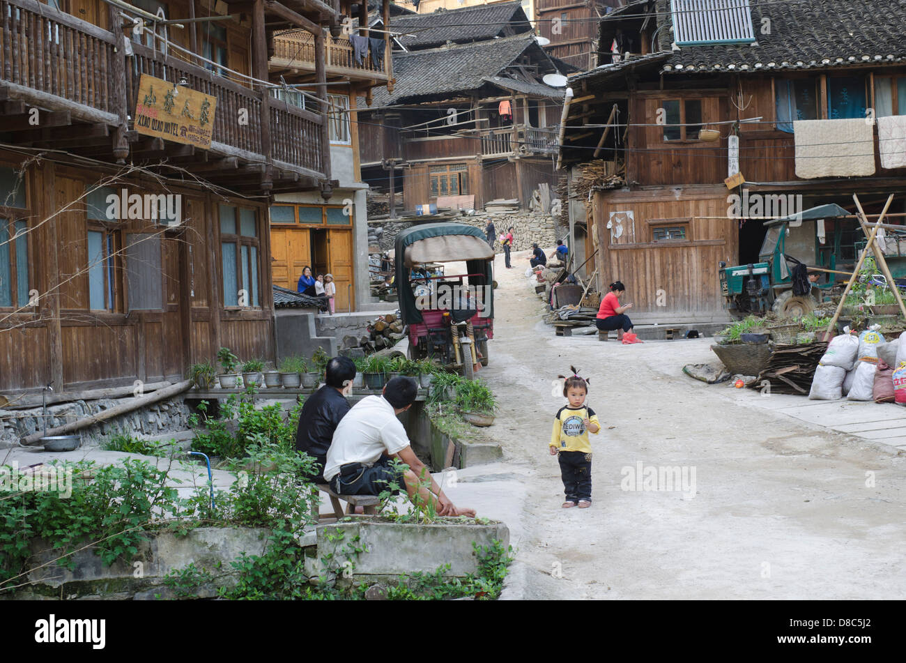 Village life in the Zhaoxing Village in Guizhou Stock Photo