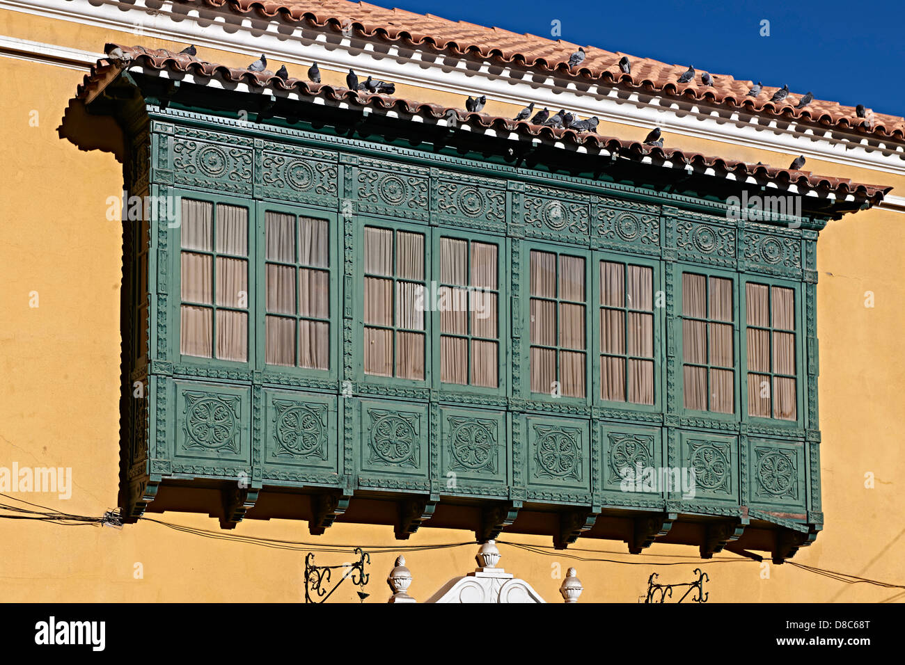 Window of town hall in Potosi, Bolivia - Stock Image