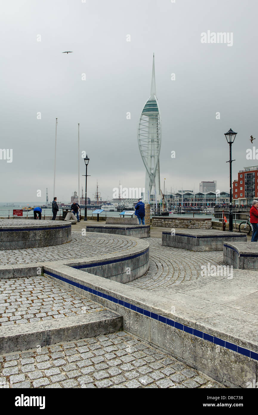 The 170m tall Spinnaker Tower overlooking The Solent at Gunwharf Quays in Portsmouth, Hampshire - Stock Image