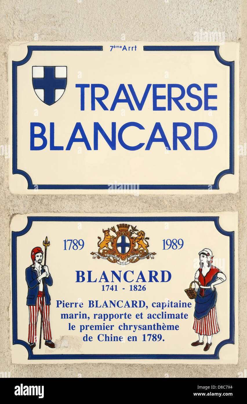 Pierre Blancard Chrysanthemum Plaque and Street Sign Traverse Blancard Marseille France - Stock Image
