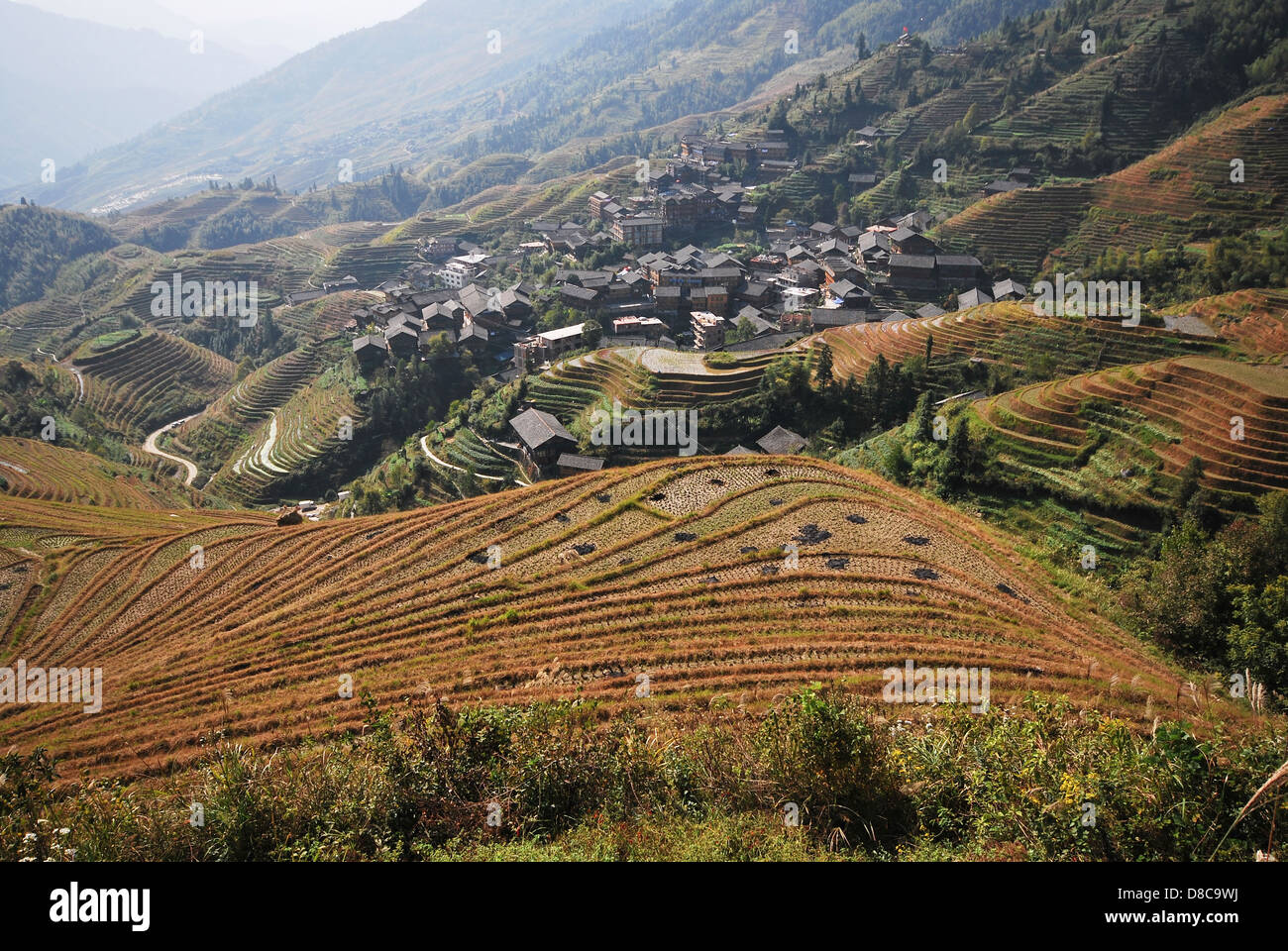 The Longsheng Rice Terraces, Guilin, Guangxi, Southern China - Stock Image