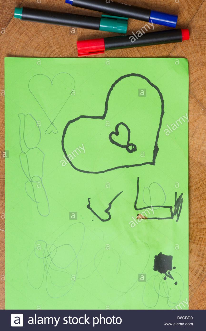 child boy children artist art artwork - Stock Image