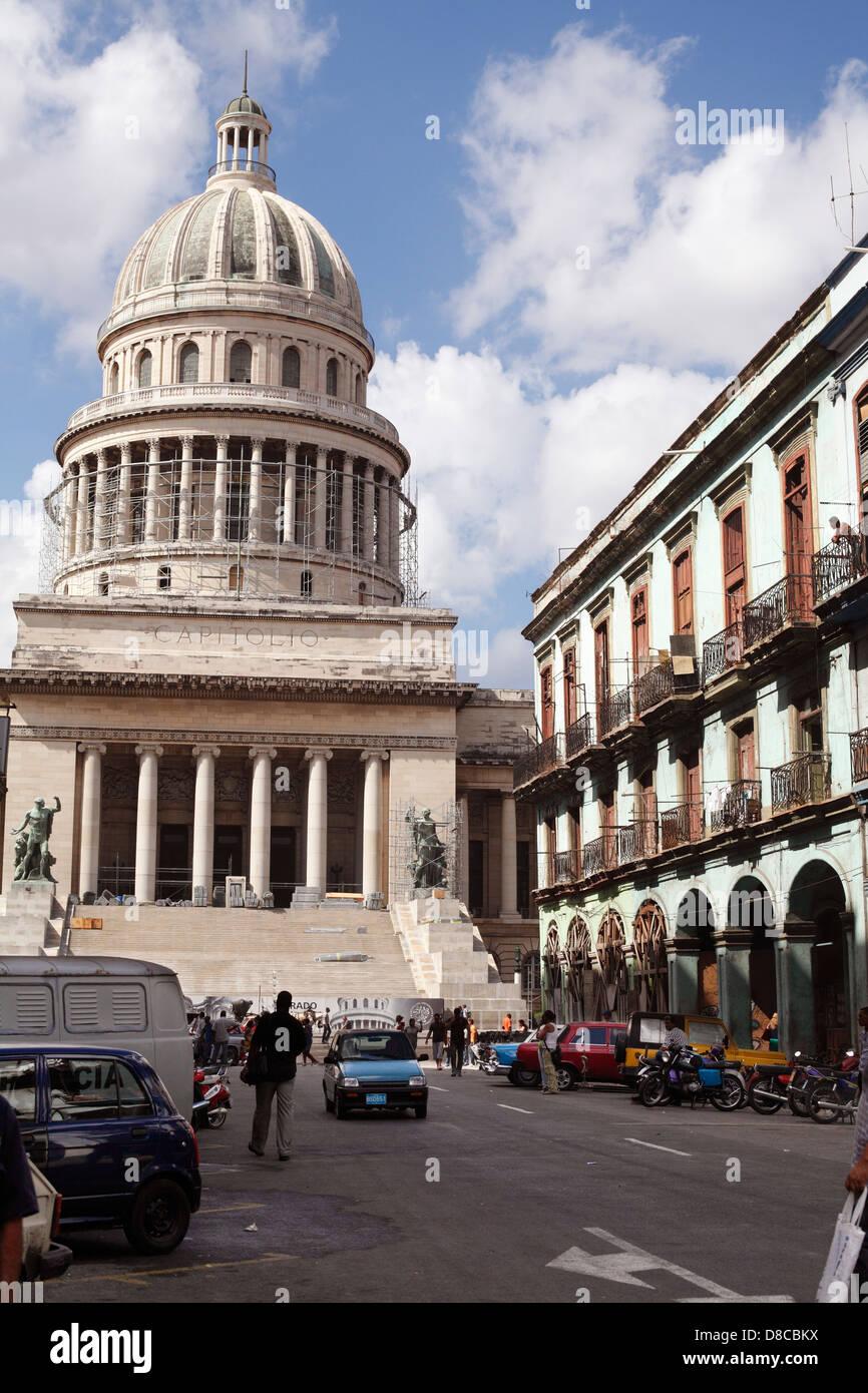 Capitolio Building Under Repair In Havana Cuba - Stock Image