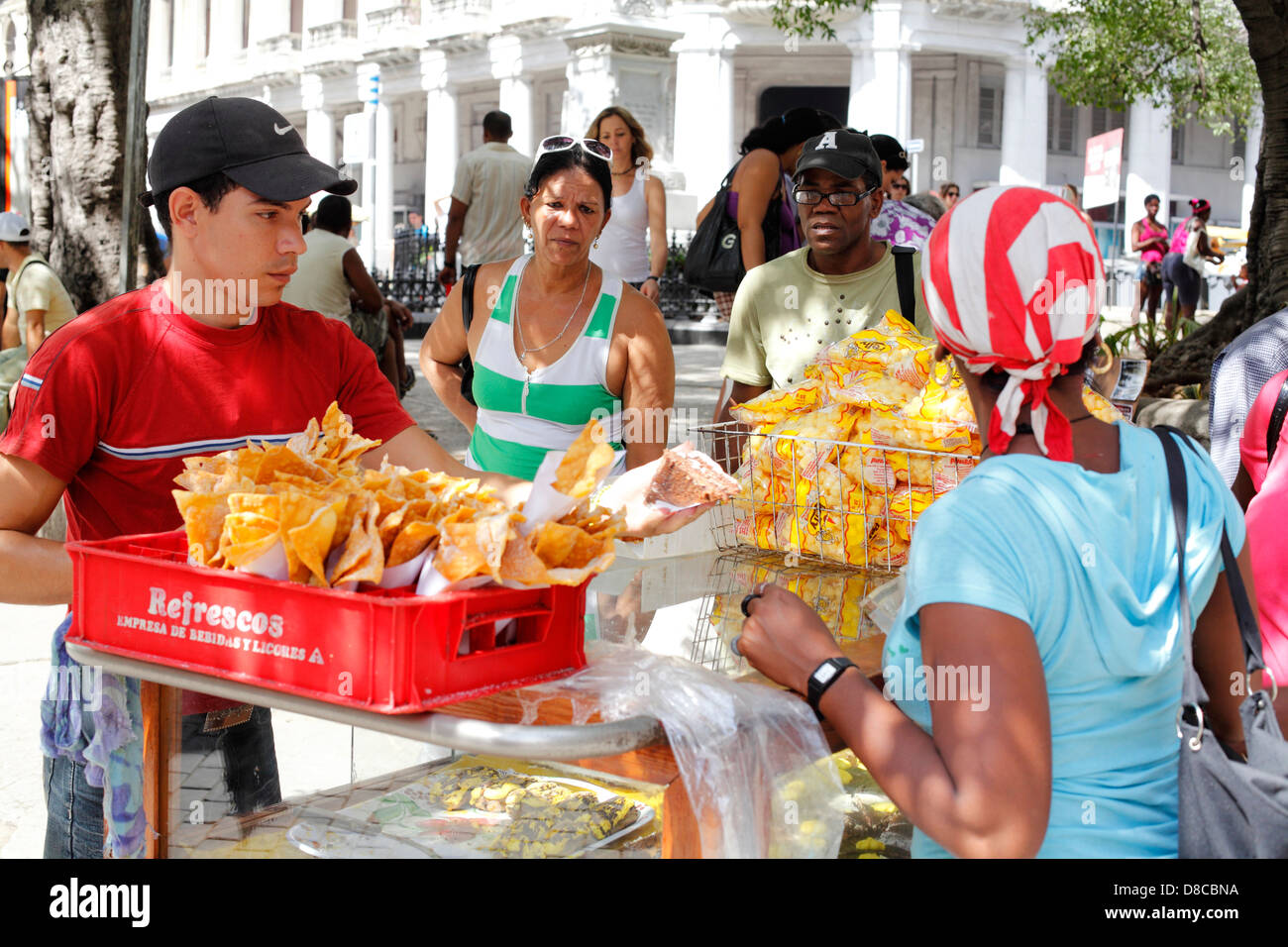 Food Stall Selling Cakes And Snacks On The Street In Havana Cuba