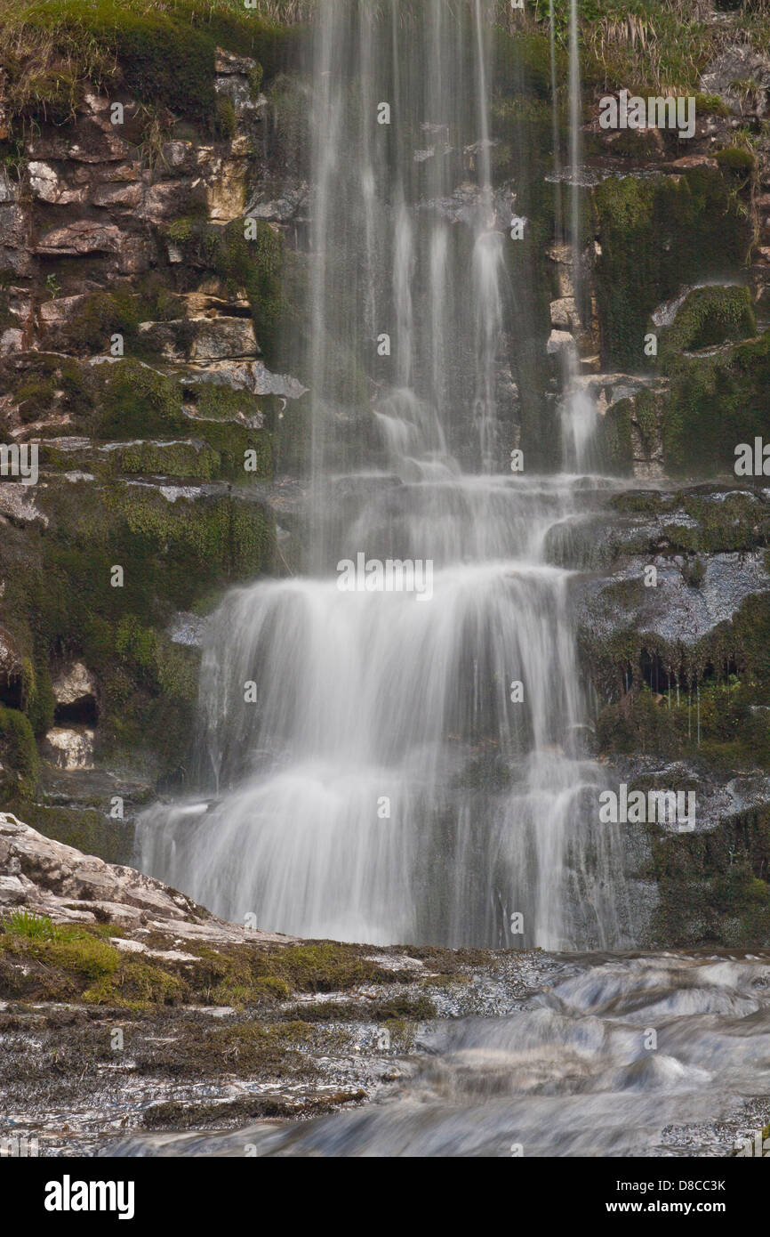 Close up of waterfall at Buckden Gill, North Yorkshire - Stock Image