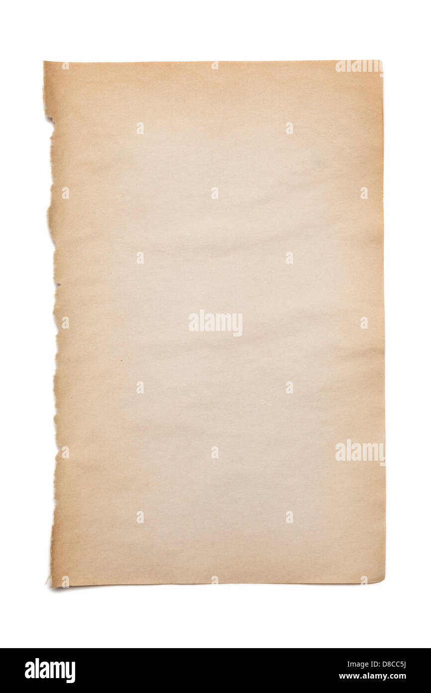 Old Paper on White - blank page of smooth paper from an old book, on a white background. - Stock Image