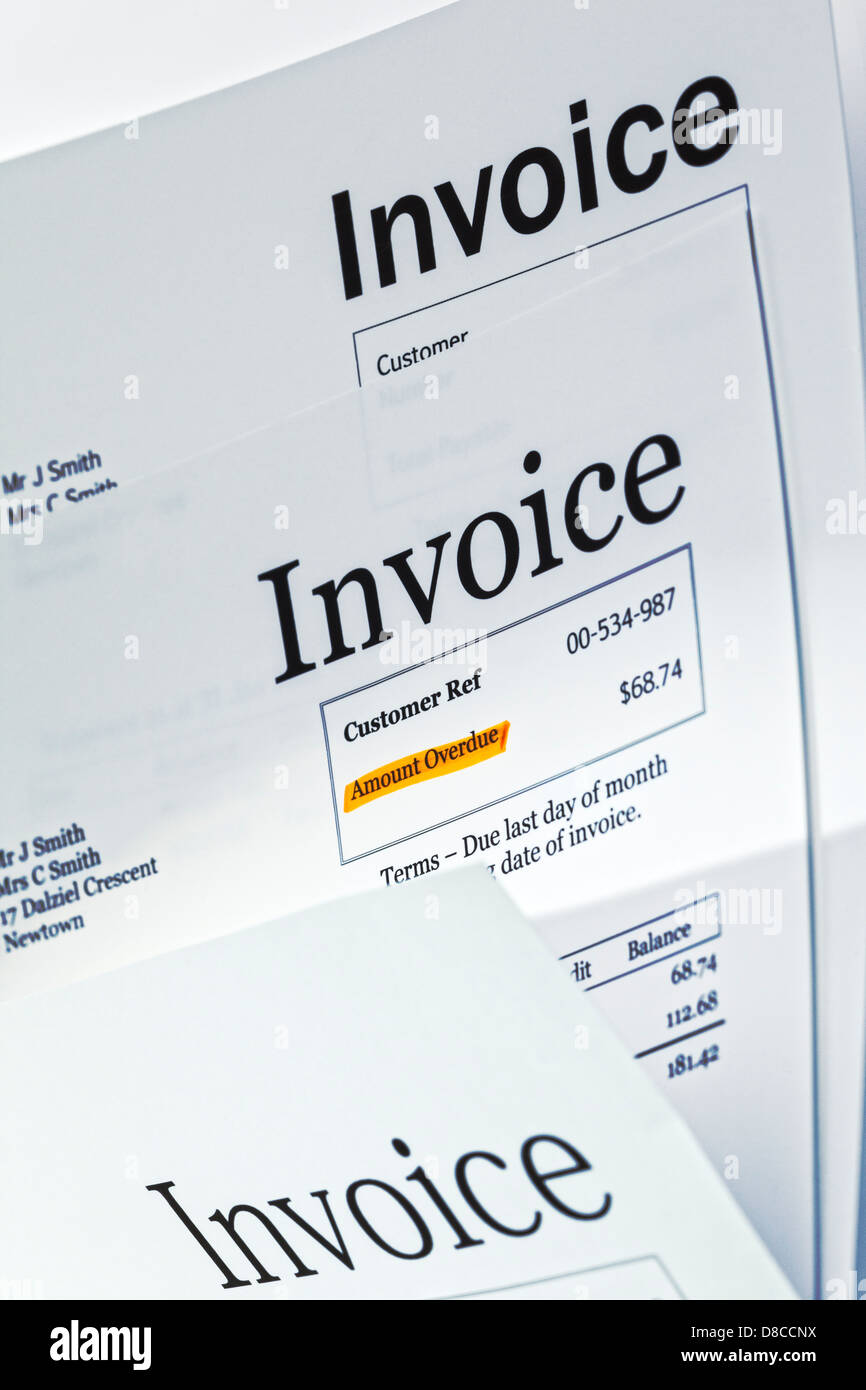 Invoice - three invoices, one with 'Amount Overdue' highlighted. - Stock Image