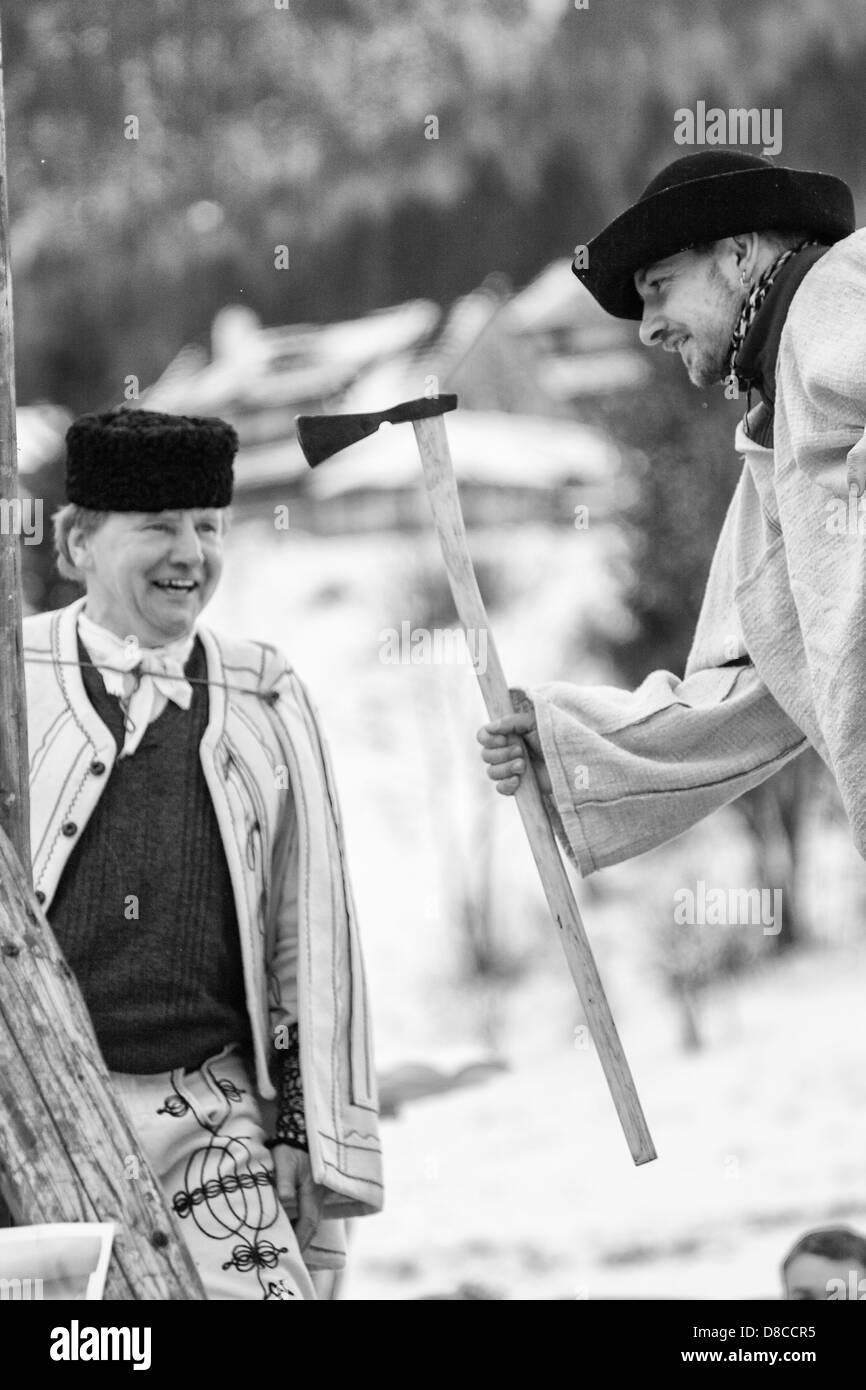 Slovak national hero Janosik in folklore show - Stock Image