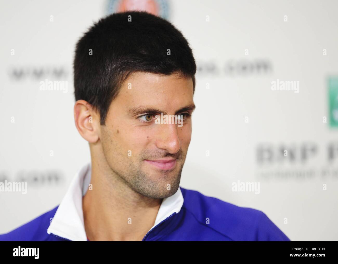 24 05 2013 Paris France.  Novak Djokovic Srb Roland Garros tennis open press announcement and draw. - Stock Image