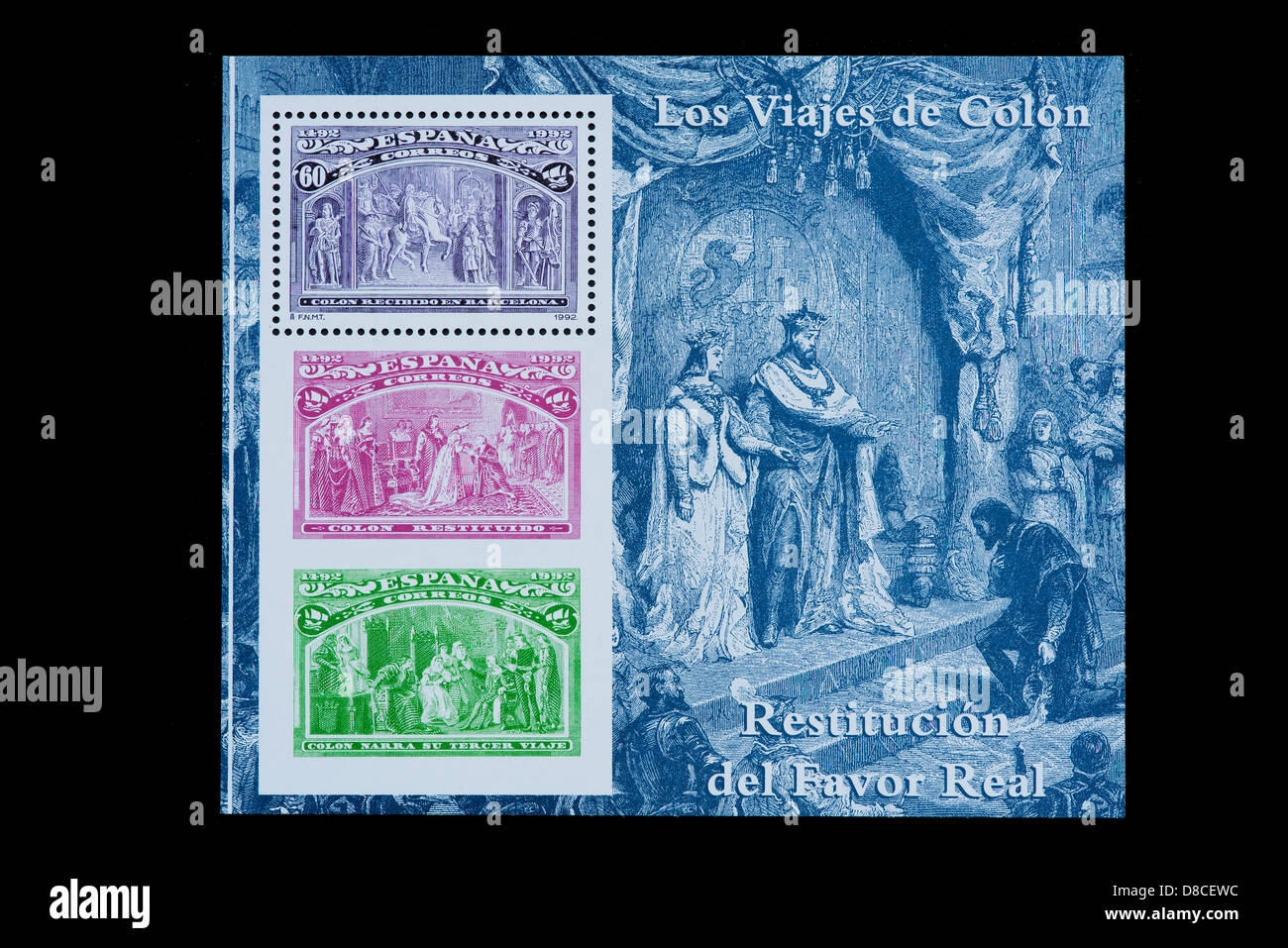 Christopher columbus and the discovery of America in a spanish stamp sheet Stock Photo