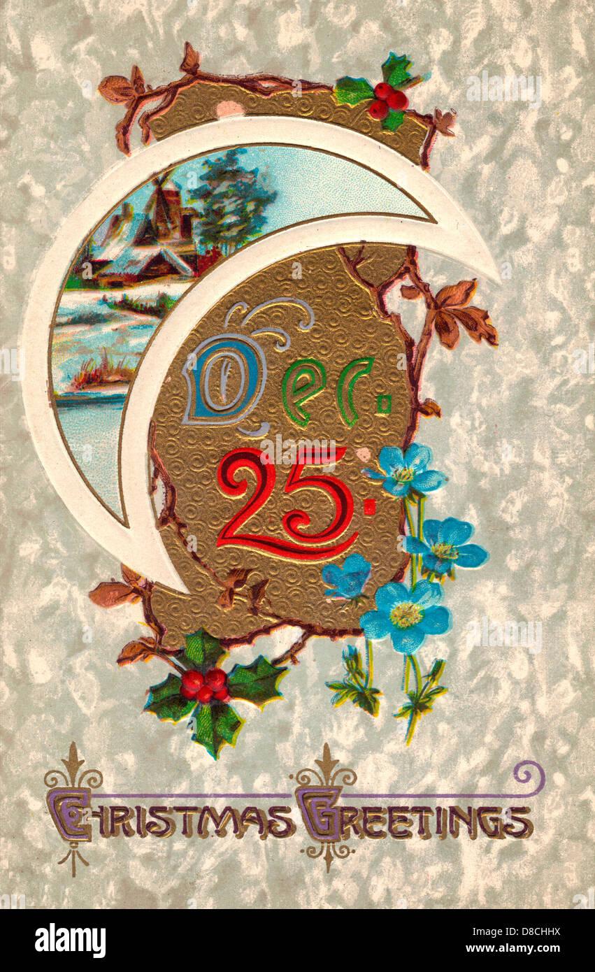 December 25th - Christmas Greetings - Vintage Card - Stock Image