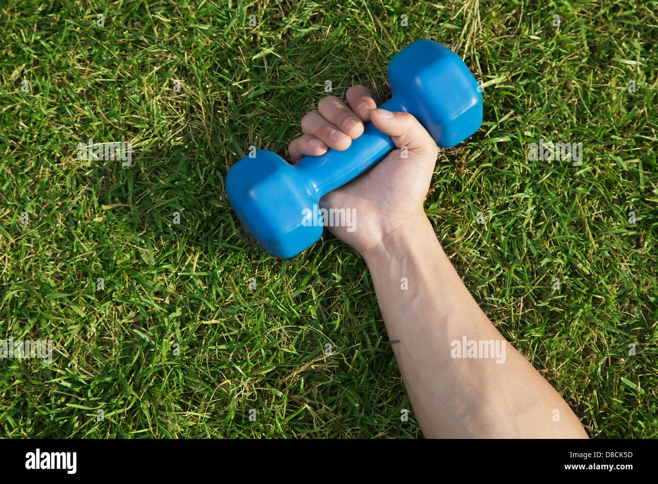 Close Up on Hand Holding Blue Dumbbell in Grass - Stock Image