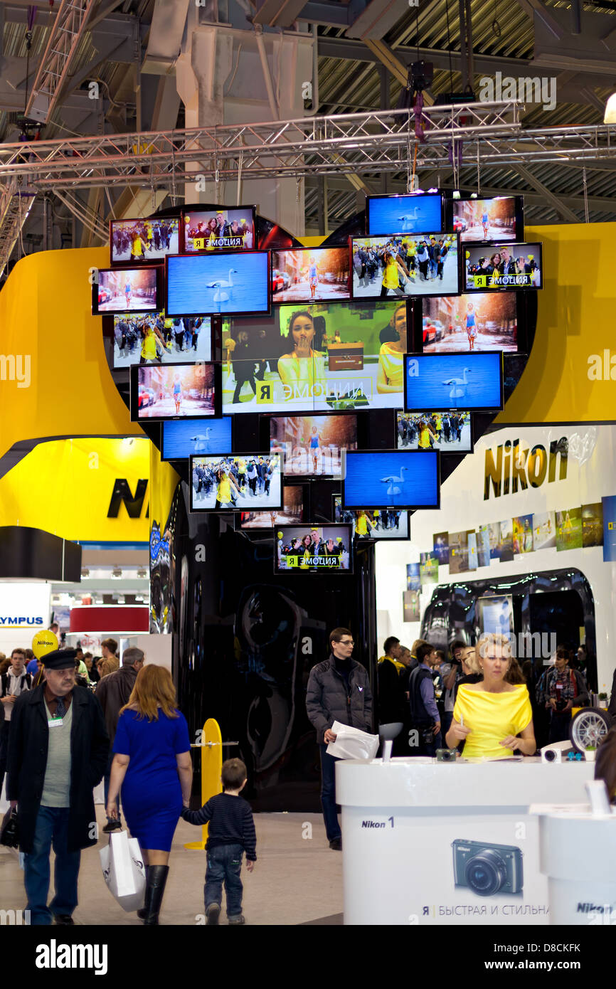 Nikon stand at Consumer Electronics & Photo Expo, 14th of April 2013 in Moscow, Russia. - Stock Image