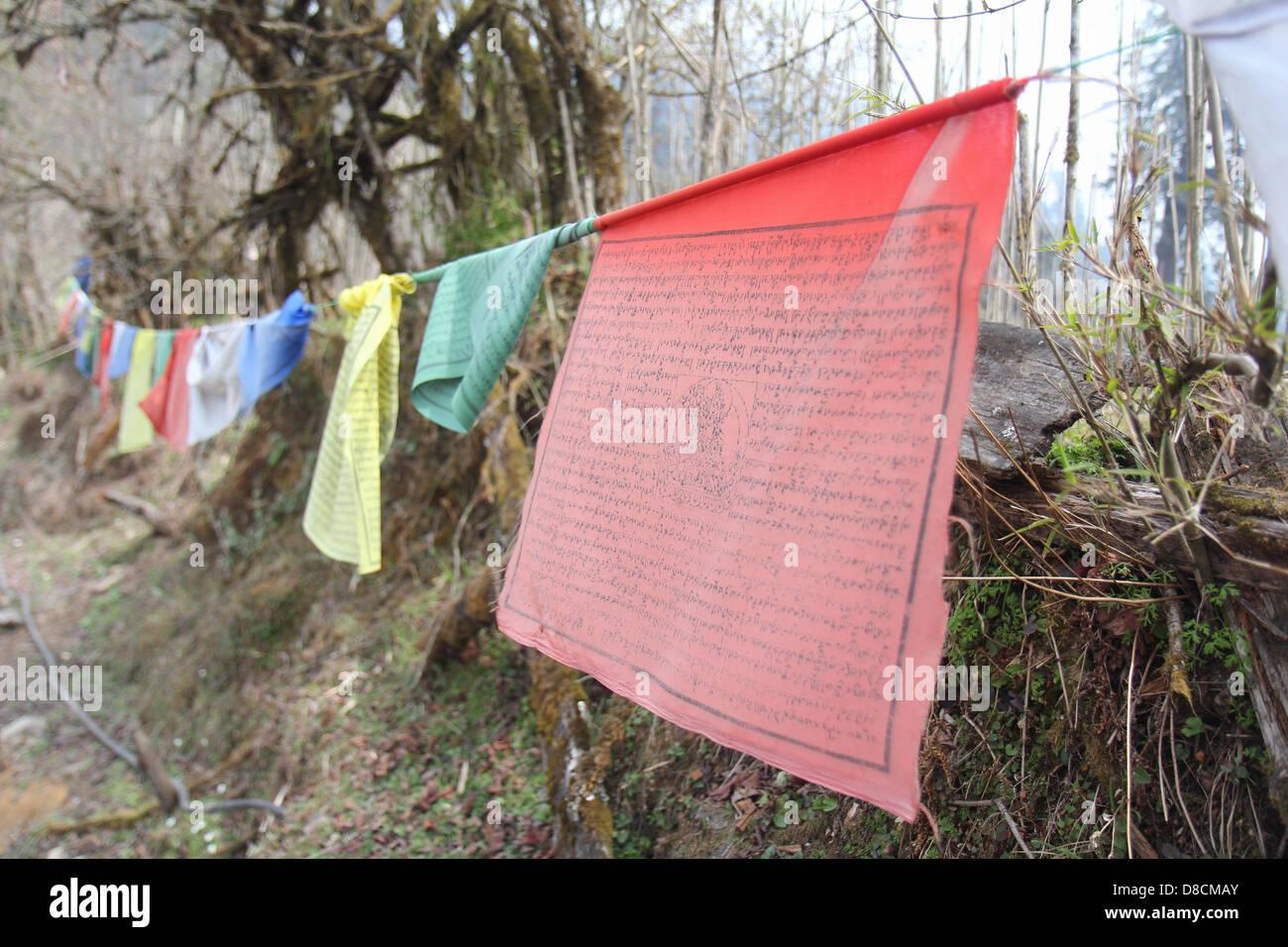 Holy flag of Kanchenjunga mountain - Stock Image