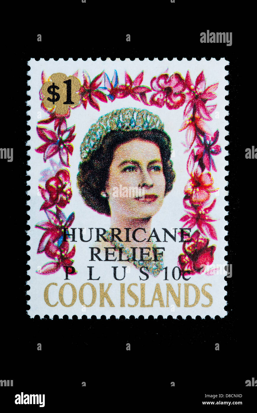 A stamp of Cook Islands overprinted Hurricane relief 10 c. - Stock Image