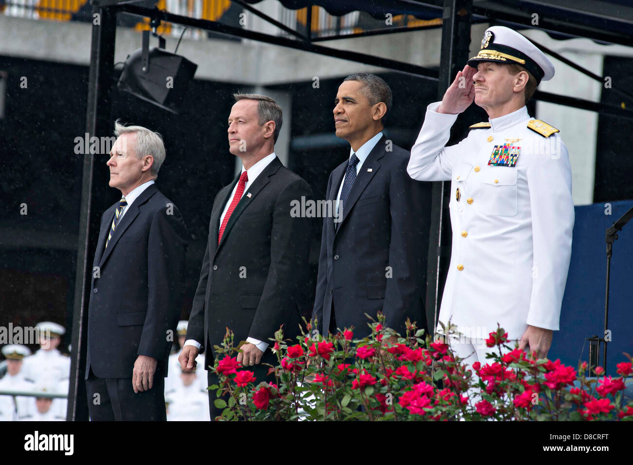 US President Barack Obama, Maryland Gov. Martin O' Malley, Secretary of the Navy Ray Mabus (left) and Superintendent Stock Photo