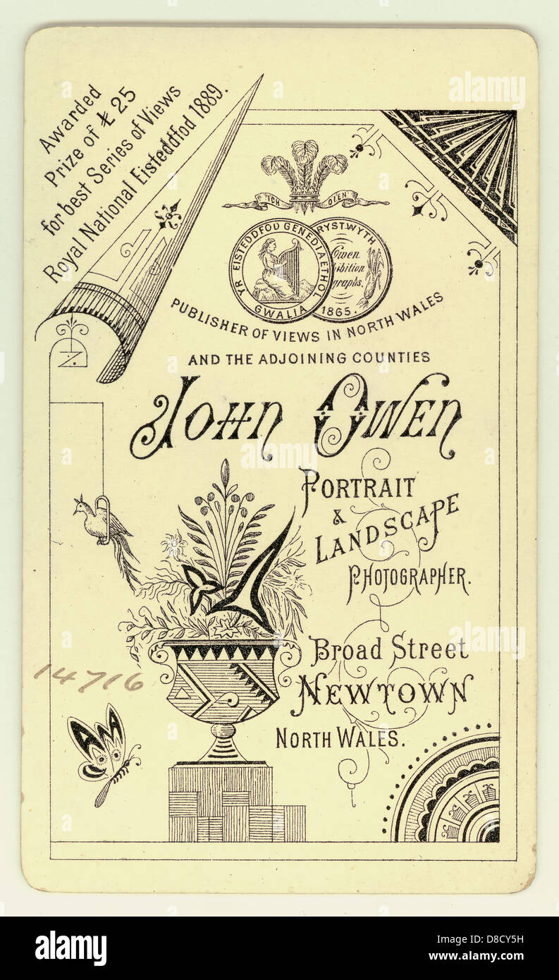 Reverse of  Victorian Cartes de Visite, ( visiting card ) 1890's, beautiful illustrations, U.K. - Stock Image