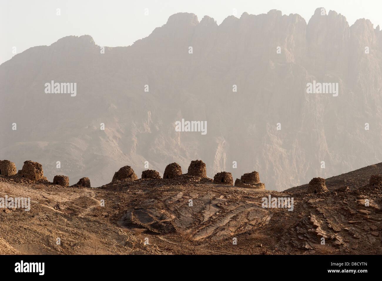 Beehive tombs at Al Ayn, Oman - Stock Image