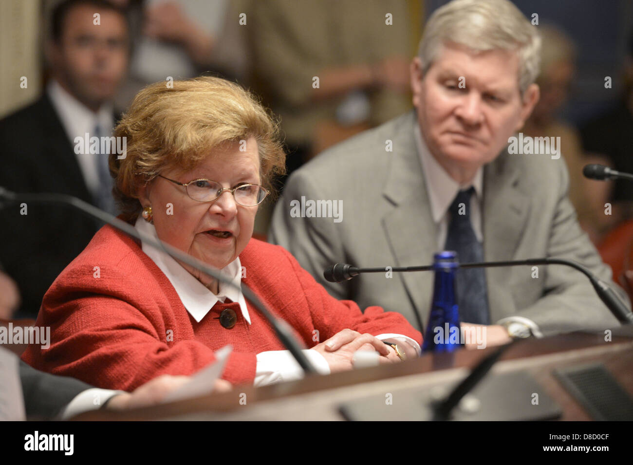 US Senate Appropriations Committee Chairwoman Senator Barbara Mikulski hosts Secretary Chuck Hagel and Veterans - Stock Image