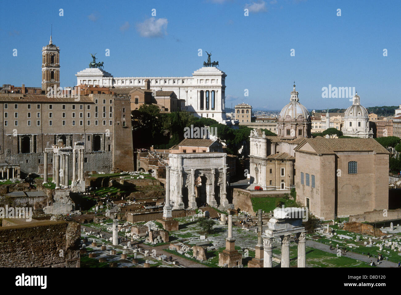 Rome. Italy. The Roman Forum (Foro Romano) with the Capitol and Victor Emmanuel Monument in the background. - Stock Image