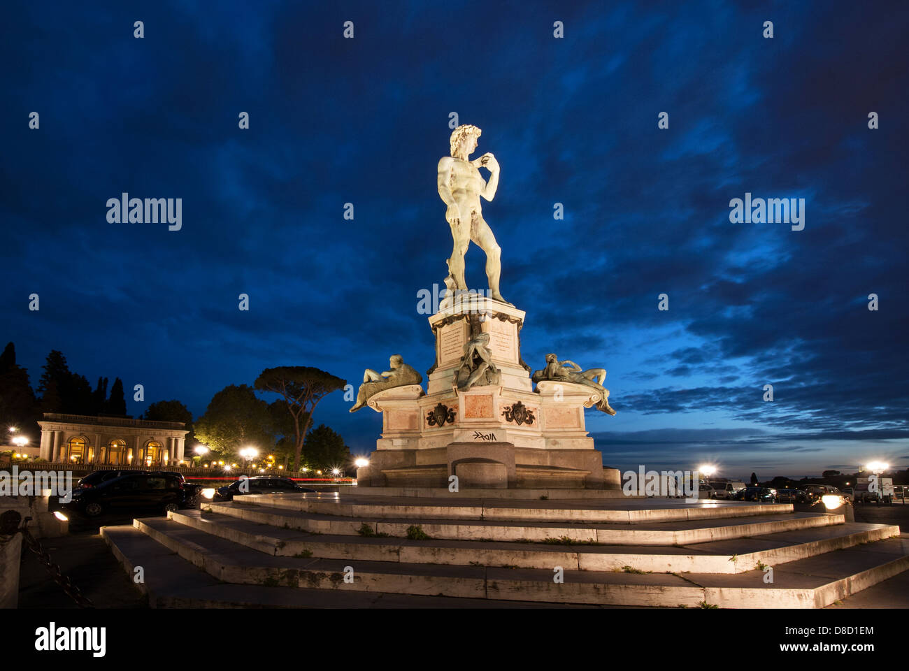 Copy of Michelangelo's David at, Piazzale Michelangelo, in, Florence, Tuscany, Italy - Stock Image