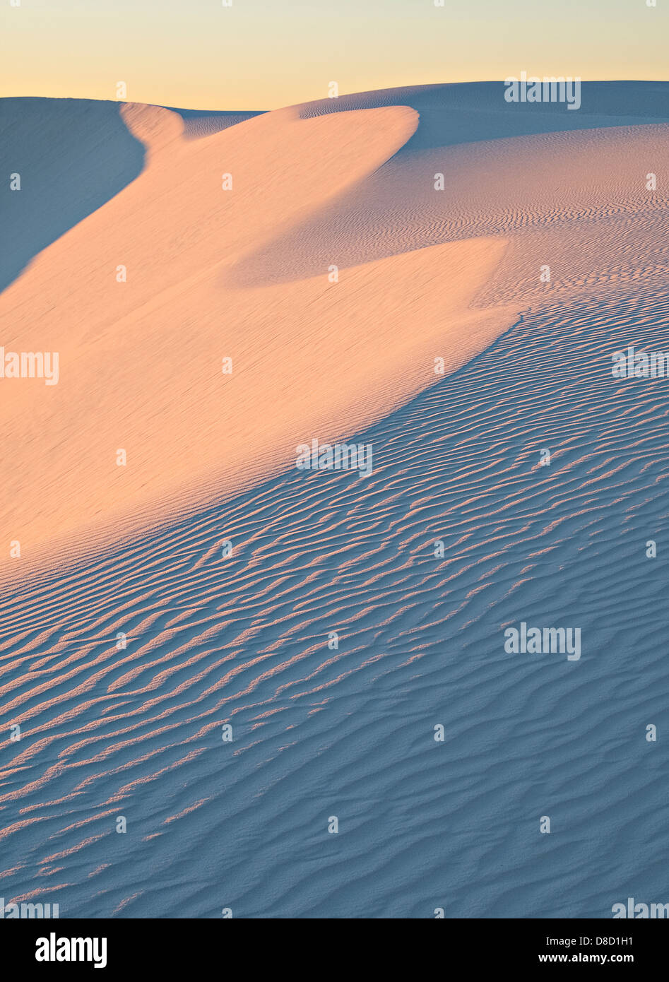 Dawn color on dune face, White Sands National Monument Stock Photo