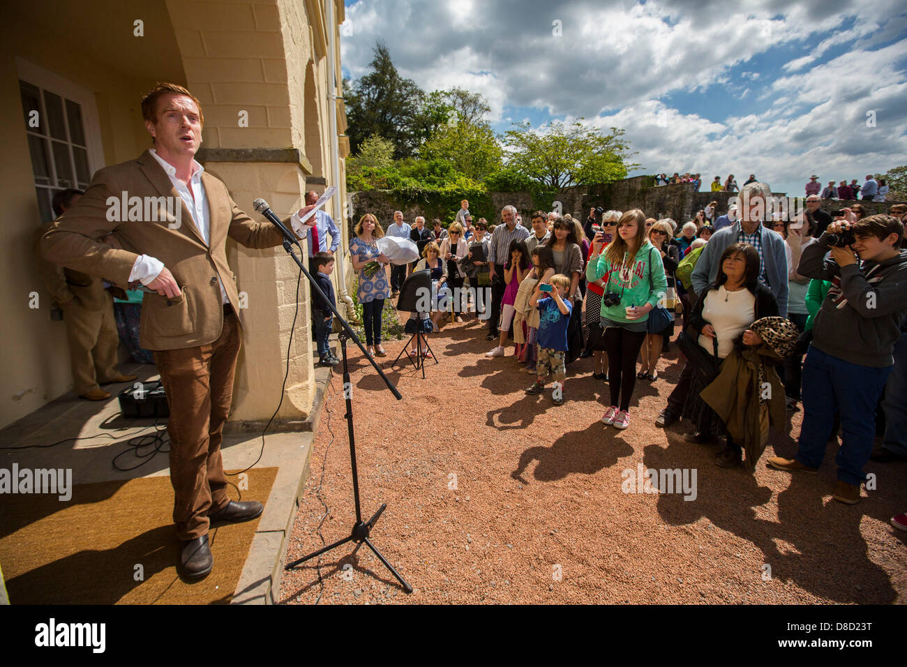 Actor Damien Lewis officially unveils the newly renovated Mansion at Aberglasney Gardens in Carmarthenshire, West - Stock Image