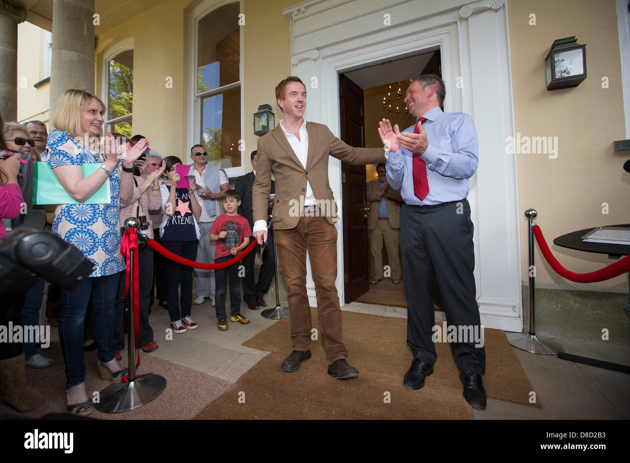 Actor Damien Lewis and Aberglasney Chief Executive Roger Evans officially unveil the newly renovated Mansion at - Stock Image