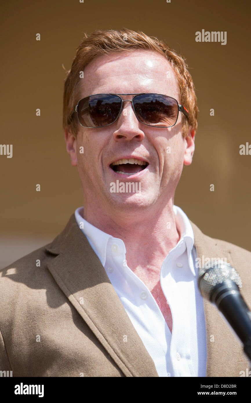 Actor Damian Lewis officially unveils the newly renovated Mansion at Aberglasney Gardens in Carmarthenshire, West - Stock Image
