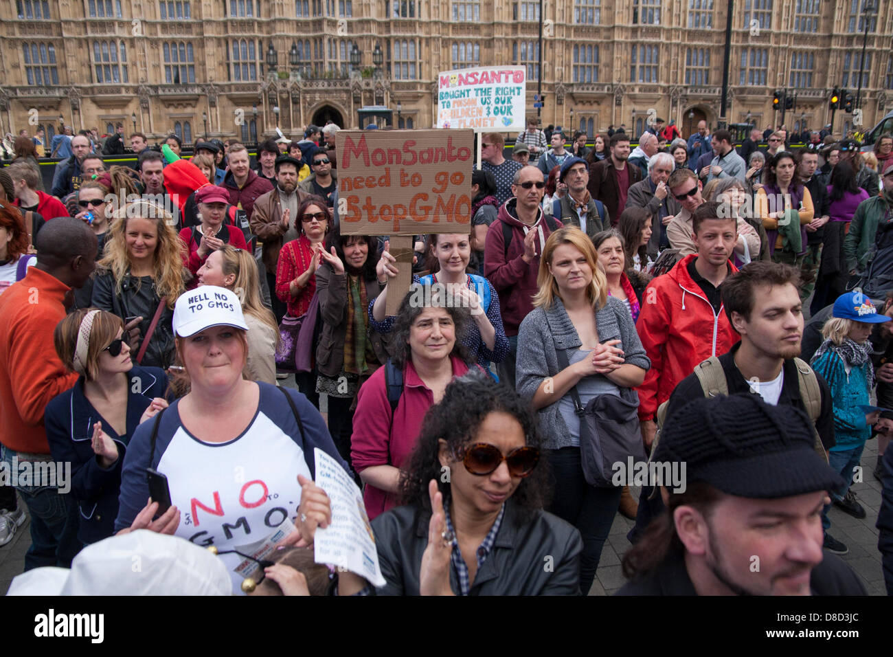 2013-05-25 Westminster, London. Protesters demonstrating outside Parliament against genetically modified crops, Stock Photo