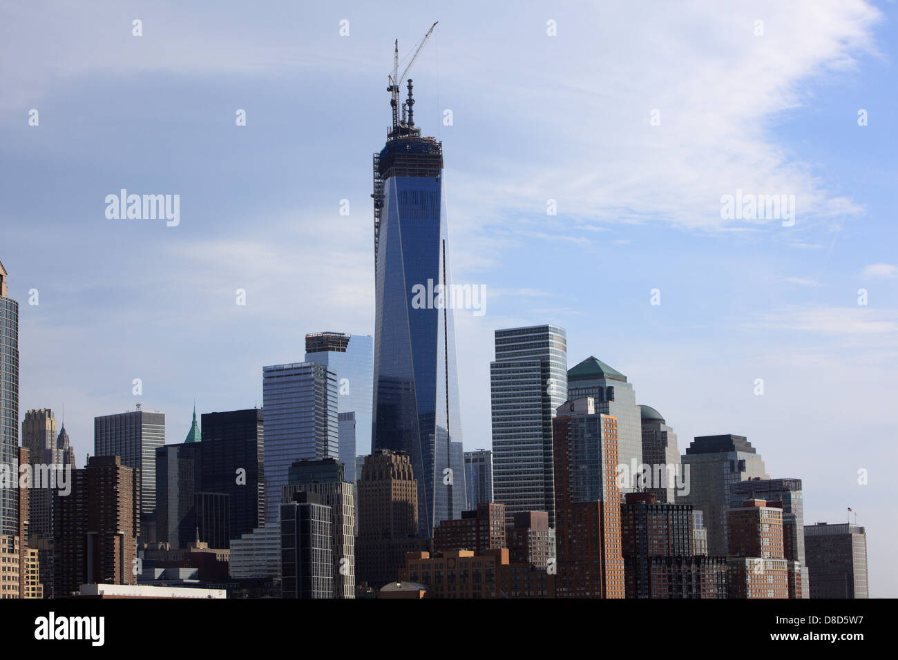 Downtown Manhattan with WTC tower under construction Stock Photo