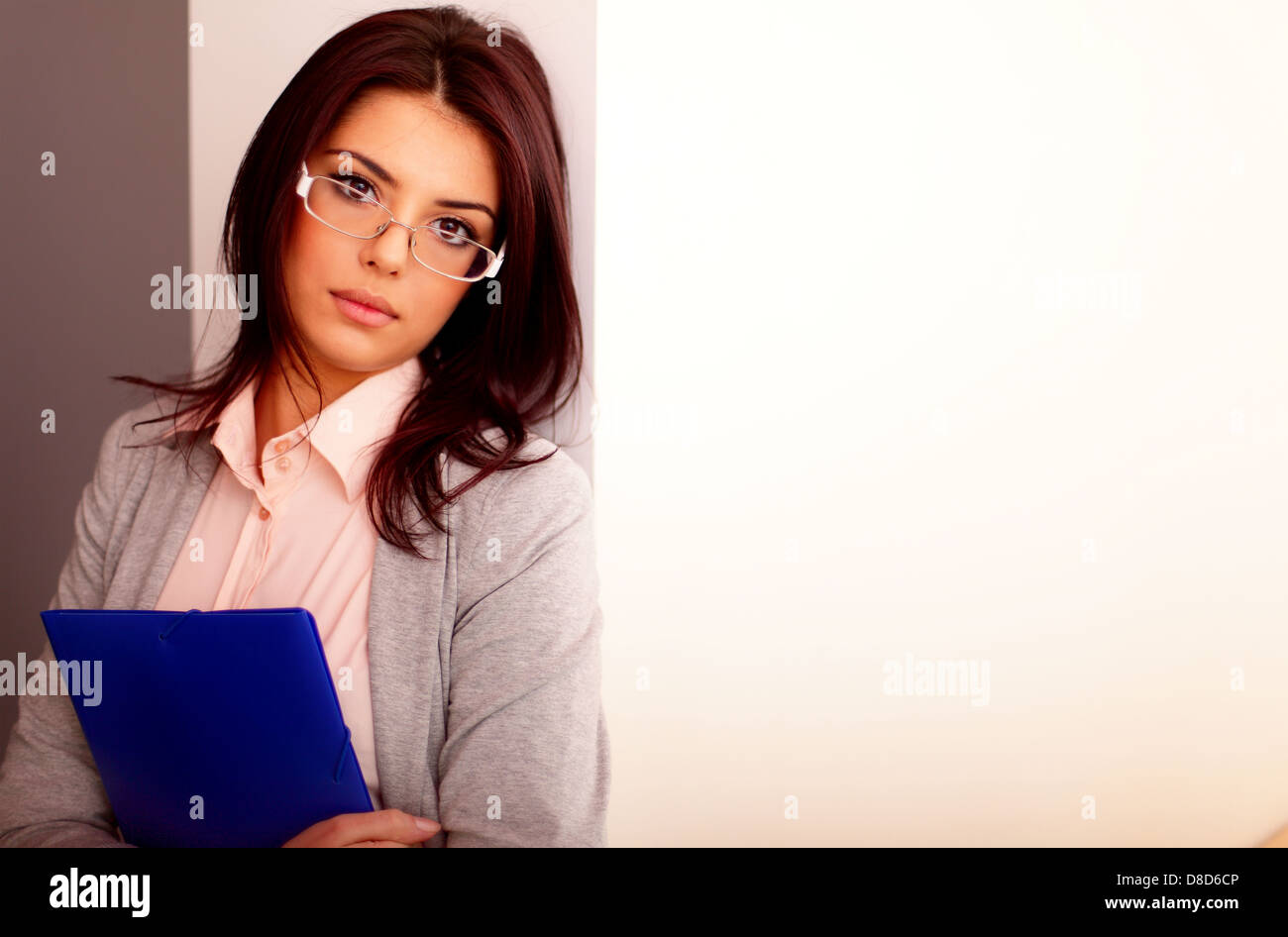 Young beautiful businesswoman in office holding a folder - Stock Image