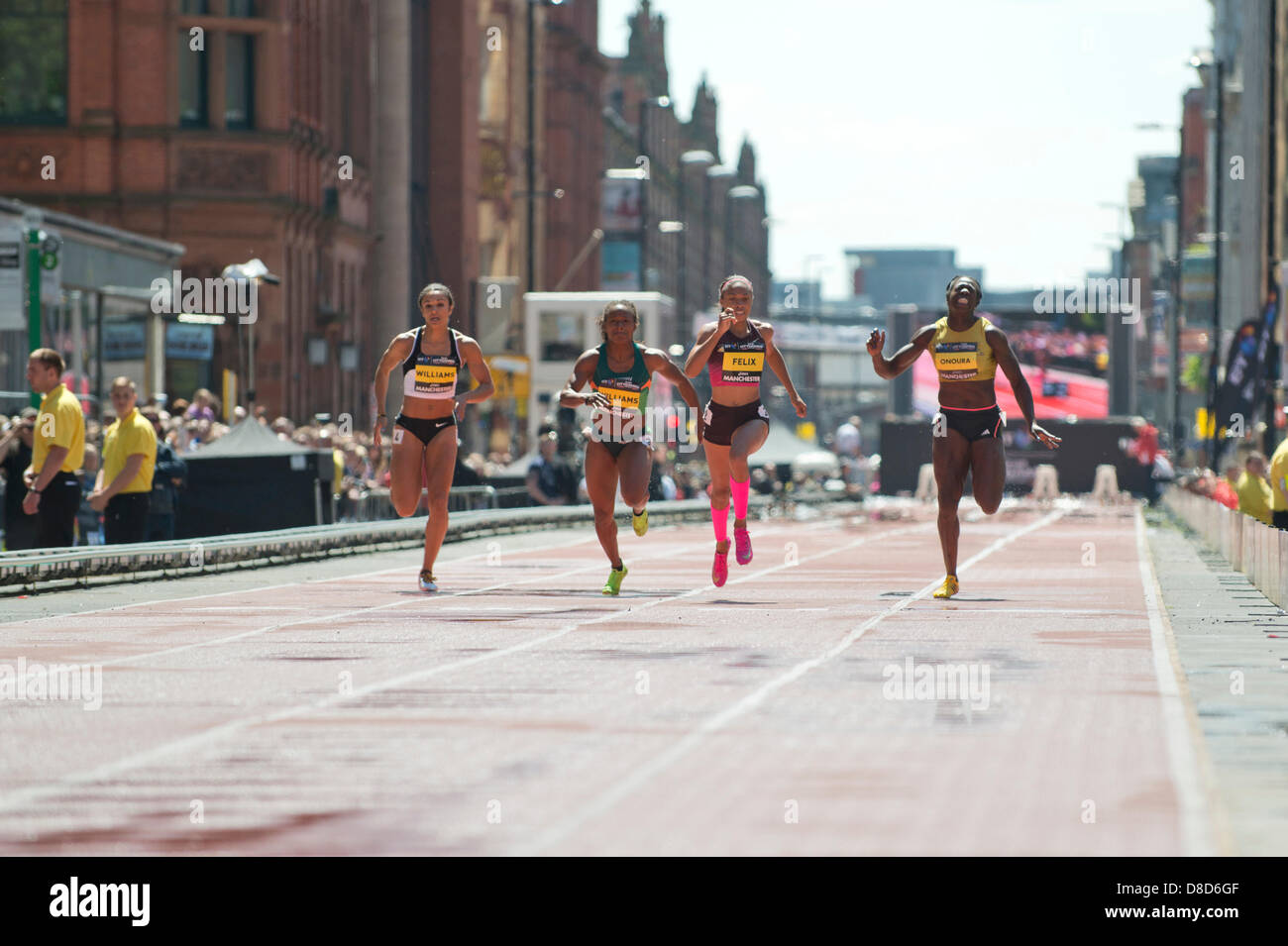 MANCHESTER, UK. 25th May 2013. Allyson Felix of the United States sprints to take 1st place in the Womens 150m event - Stock Image