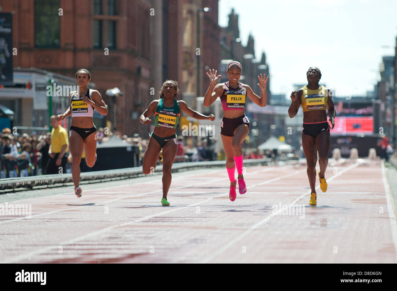 MANCHESTER, UK. 25th May 2013. Allyson Felix of the United States is delighted to take 1st place in the Womens 150m - Stock Image