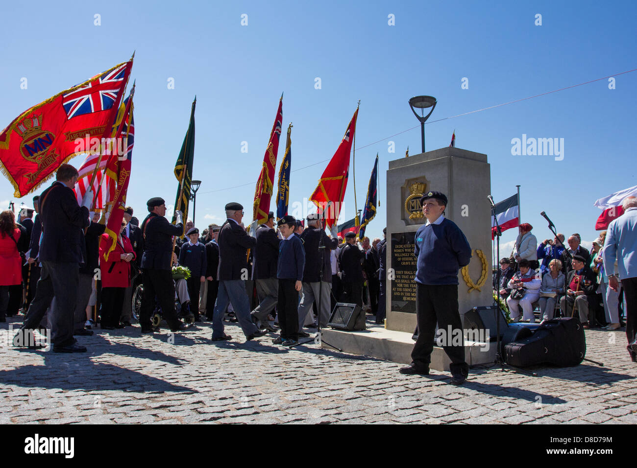 Liverpool, UK. May 25, 2013. A Merchant Navy Commemorative Service to celebrate the ending of the Battle of the - Stock Image