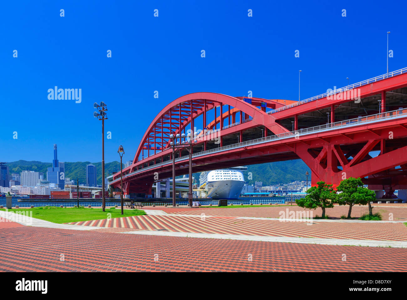 Port of Kobe and  Cruise ships - Stock Image