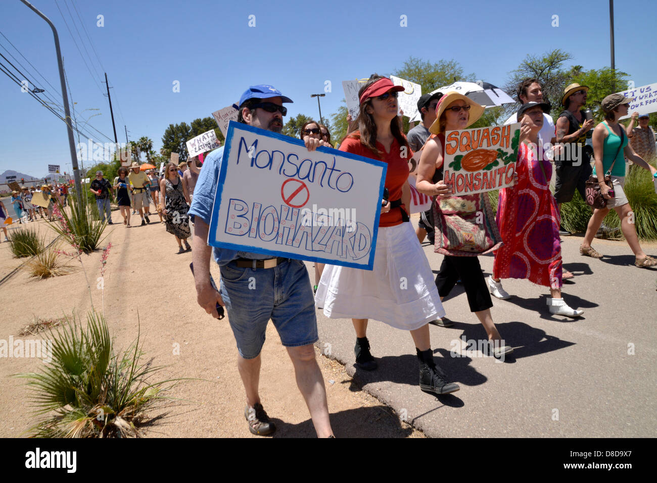 Tuscon, Arizona, USA. 25th May, 2013. About 1,000 protesters participated in a march organized by Monsanto Free Stock Photo