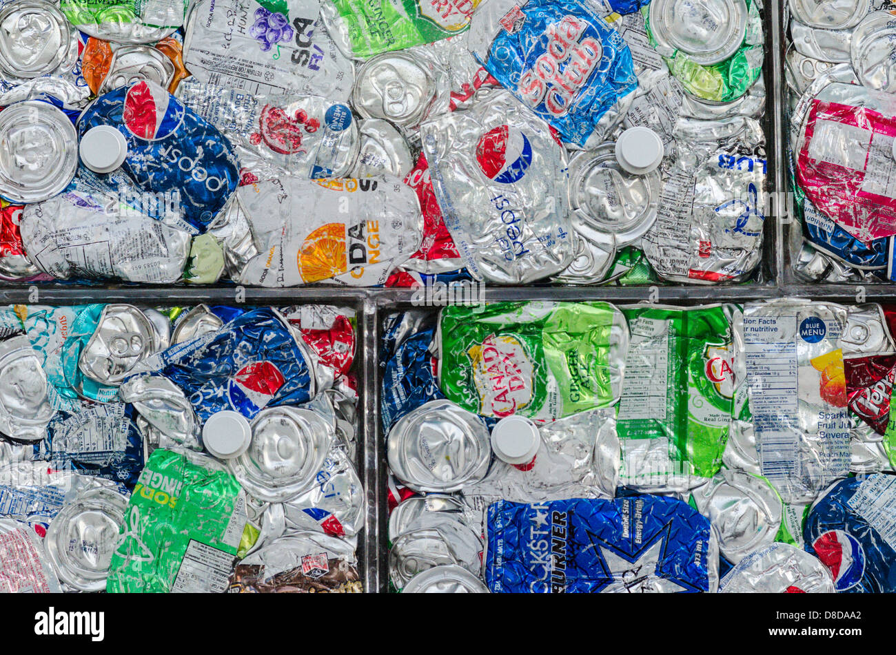 flattened pop cans - Stock Image