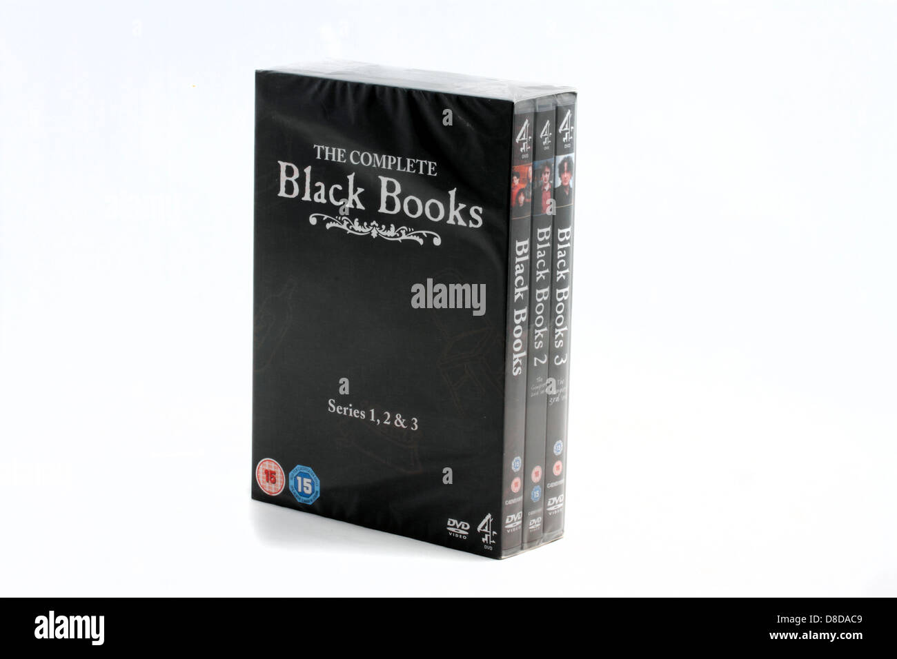 Black Books comedy series on DVD all three series unopened - Stock Image