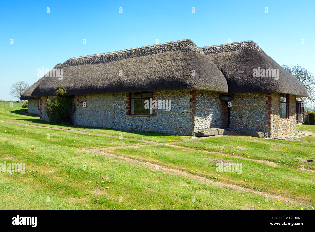 Traditional Sussex thatched barns housing the mosaic floors at Bignor Roman villa, Bignor, West Sussex, UK - Stock Image