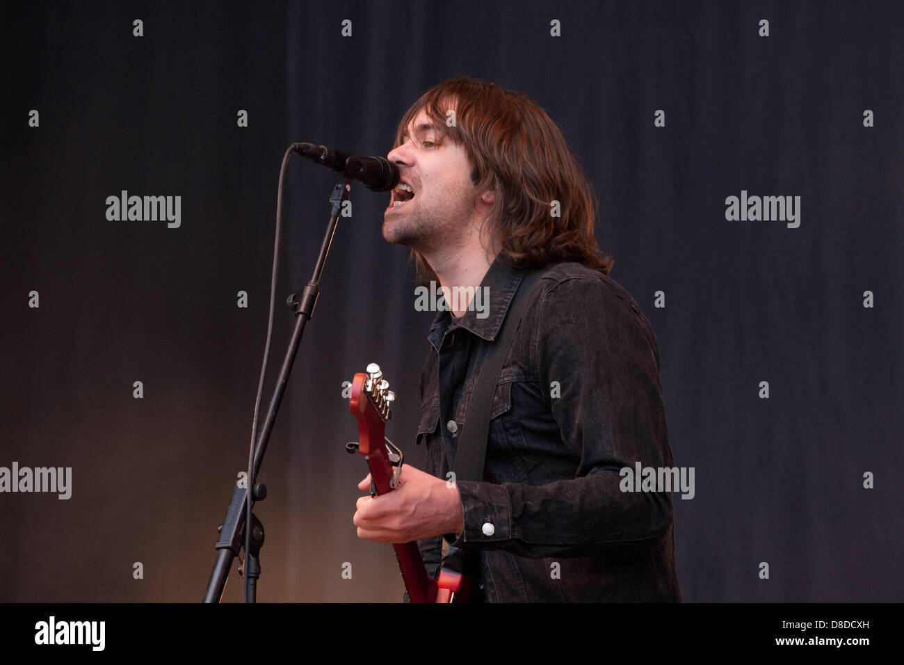 Composed of Justin Young (guitar/vocals),[7] Arni Arnason (bass), Pete Robertson (drums) and Freddie Cowan (guitar), - Stock Image